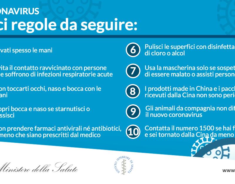 Coronavirus: le 10 regole da seguire