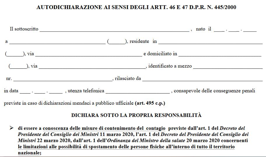 Modulo Autocertificazione – Campania