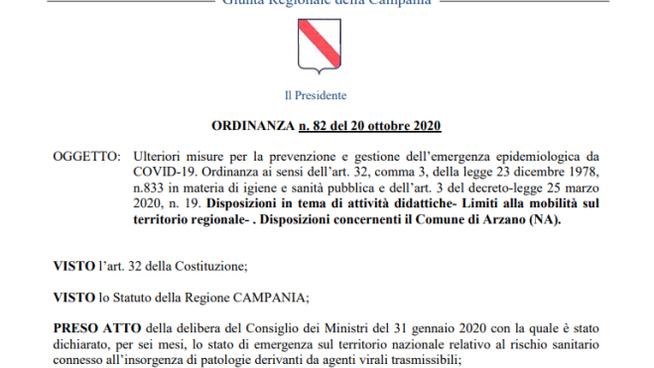 Campania – Ordinanza  regionale n.83 del 22 ottobre 2020 : Coprifuoco dalle 23.00 alle 5.00